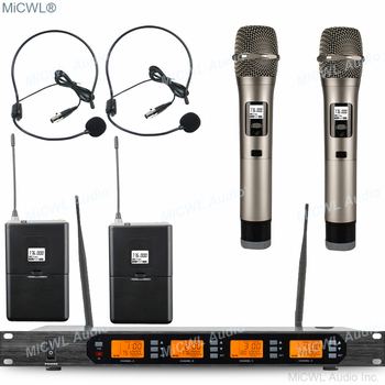 Genuine MiCWL 2 Handheld 2 Headset 2 Lavalier Microphones System 400 Channel UHF High Quality FexEx UPS TNT EMS free shipping