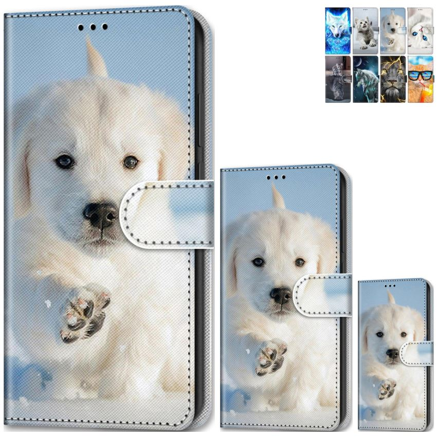 Animal Style Boys Phone Holster For <font><b>Samsung</b></font> Galaxy S20 Ultra J3 J5 2016 <font><b>J7</b></font> 2017 J8 2018 A21 A51 A71 Flip <font><b>Case</b></font> Cat Tiger <font><b>Dog</b></font> E08F image