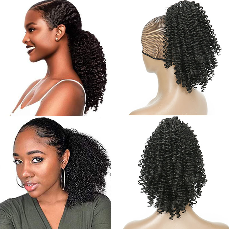 Natural Curly Hair Ponytail African American Short Afro Kinky Curly Wrap Human Hair Drawstring Puff Pony Tail Hair Extensions