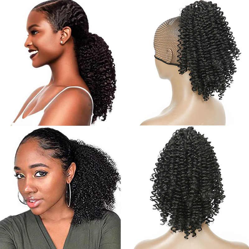Natural cabelo encaracolado rabo de cavalo africano-americano curto afro kinky encaracolado wrap cabelo humano cordão puff pônei cauda extensões de cabelo