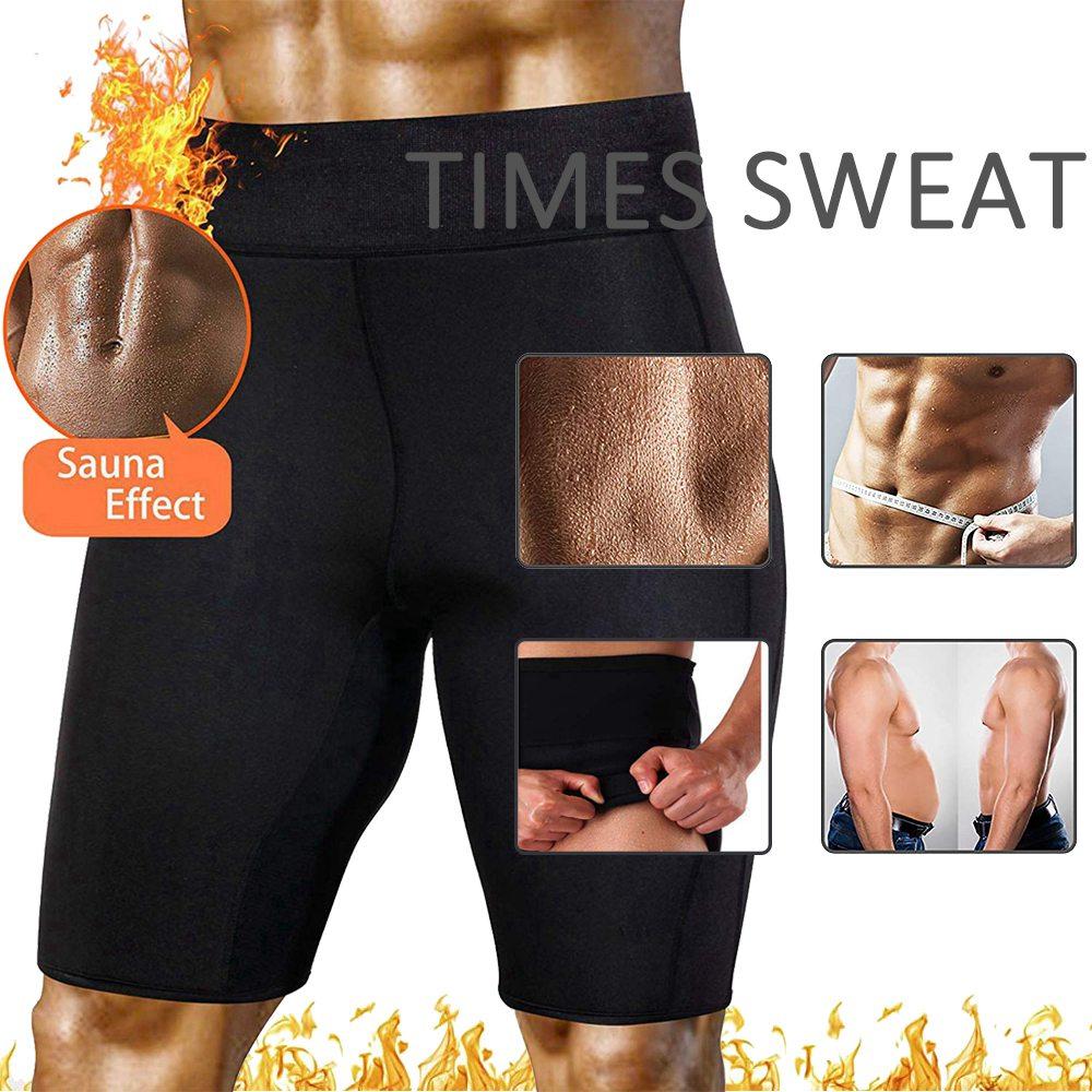 Mens Sweat Sauna Waist Trainer Shorts Weight Loss Pants Neoprene Body Shaper US