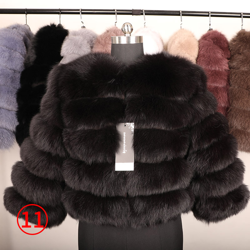 maomaokong 50CM Natural Real Fox Fur CoatWomen Winter natural fur Vest Jacket Fashion silm Outwear Real Fox Fur Vest Coat Fox 39
