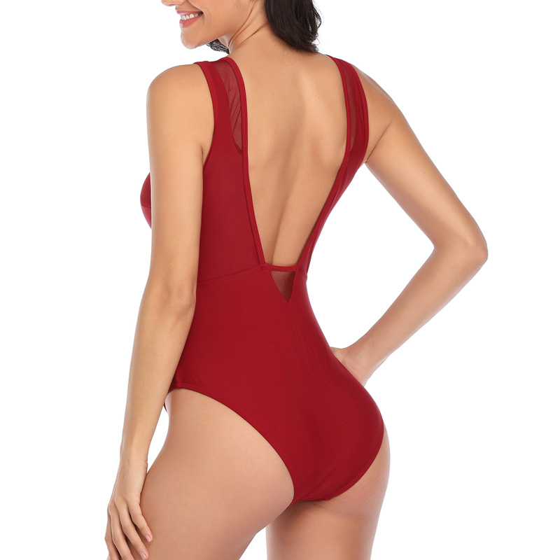 Top SaleRiseado One-Piece Swimsuit Bathing-Suits Mesh Ruched Women Sexy Beach-Bathers Solid High-Neck