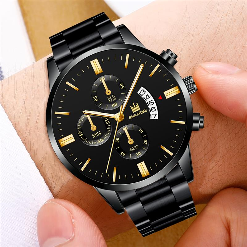 Men Black Military Sport Watches Luxury Stainless Steel Band Quartz Wristwatch Man Fashion Business Date Watch Relogio Masculino