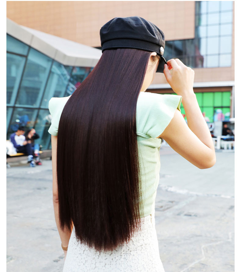 Fashion Black Navy Cap Hat With Hair Wig Long Straight Brunette Hat Wig
