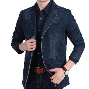 4XL Mens Denim Blazer Men Fash