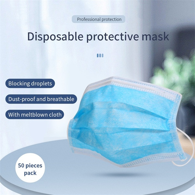 100PCS Disposable Medical Mask Non Woven Anti-dust Mouth Face Surgical Masks Safe 3-Ply Breathable Protetive Mask White/Blue 3