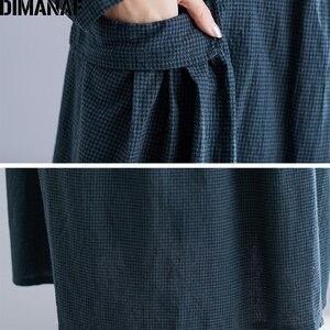 Image 5 - DIMANAF בתוספת גודל נשים שמלת חורף בציר אלגנטי ליידי Vestidos הדפסת משובץ ארוך שרוול נשי בגדי Loose ארוך שמלה 2019