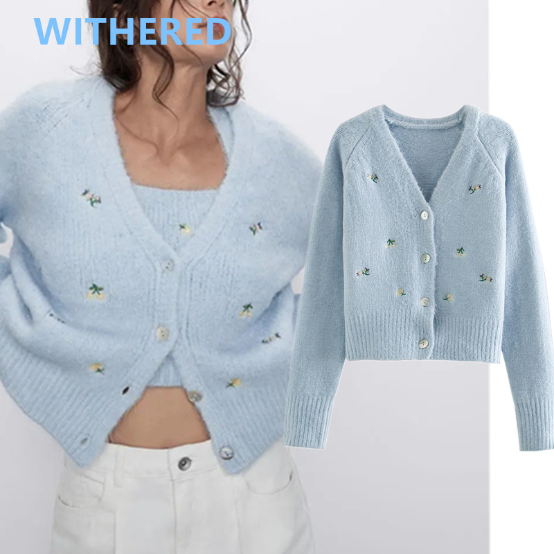 Withered 2020 Spring England High Street Vintage Floral Embrodiery Loose Single Breasted Knitting Cardigans Women Jackets Tops