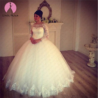 Cheap Vestido De Noiva 2019 Puffy Long Sleeves Princess Ball Gown Wedding Dress Custom Made Lace Wedding Gowns Robe De Mariee