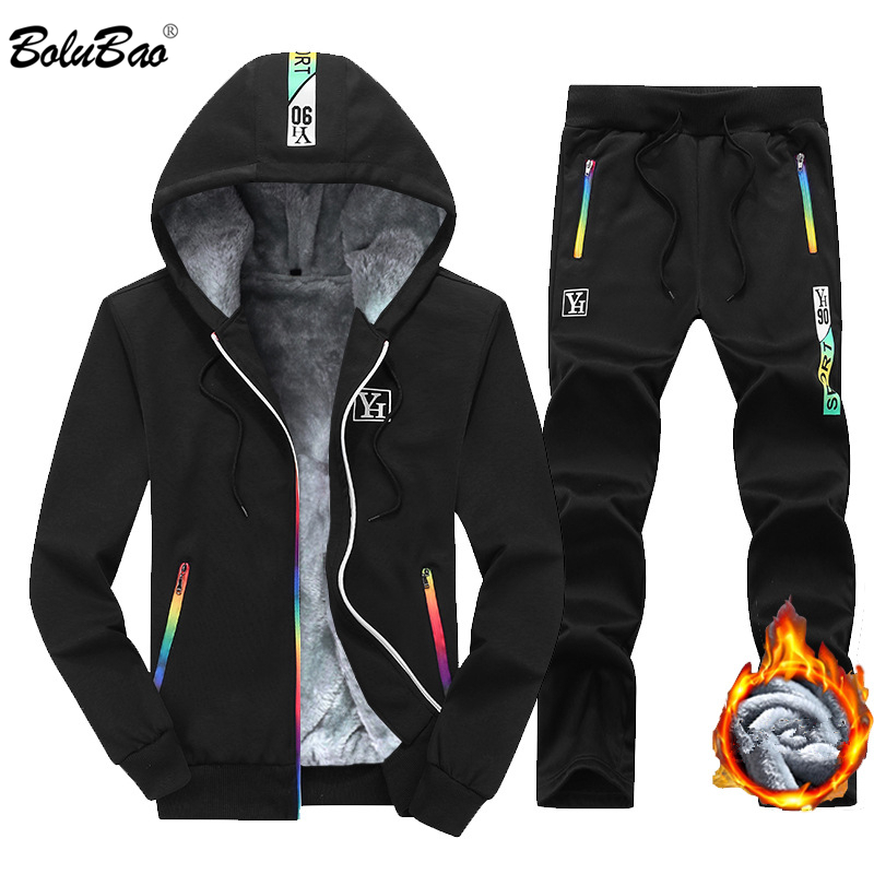 BOLUBAO Men Sets Fashion Sporting Suit Male Autumn Casual Cardigan Sweatshirt + Sweatpants 2 Pieces Tracksuit Men Warm Set Coat