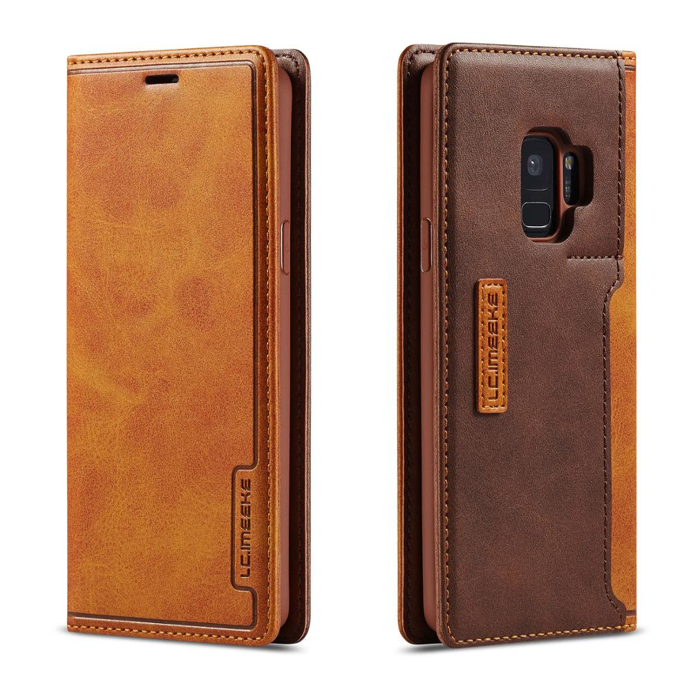 Flip Case for Samsung Galaxy S9 Plus Folio Leather Wallet Magnetic Closure Phone Cover for Samsung S20 Plus S10 Note 10 Coque