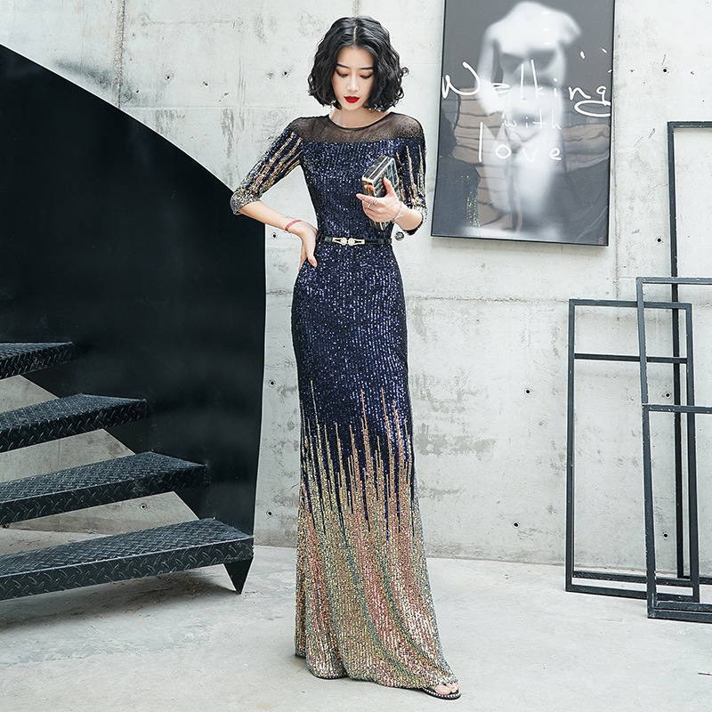 2020 Sale Real Evening Dress Annual Meeting Celebrity Fish Tail Long High-end Big Brand Noble Temperament Host Women Sequins