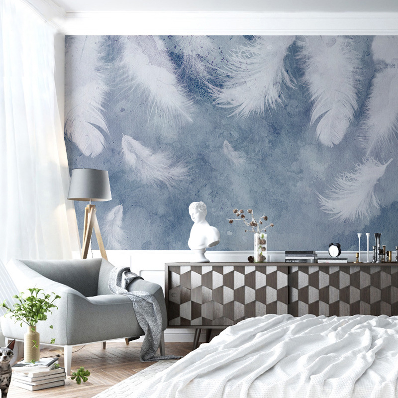 Ink Background Hand-Painted Feather Hipster Northern European-Style TV Backdrop Mural Wallpaper Bedroom Wall Art