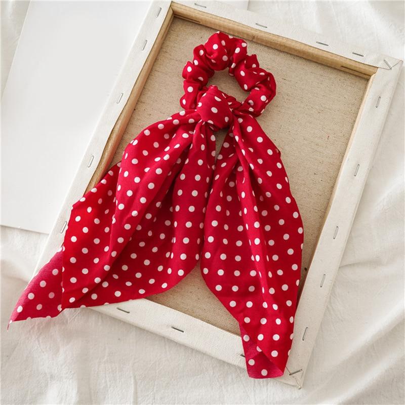 Femmes banderoles chouchous à pois imprimé Floral élastique noeud cheveux corde fille cheveux cravates coréen doux cheveux accessoires chapeaux 12