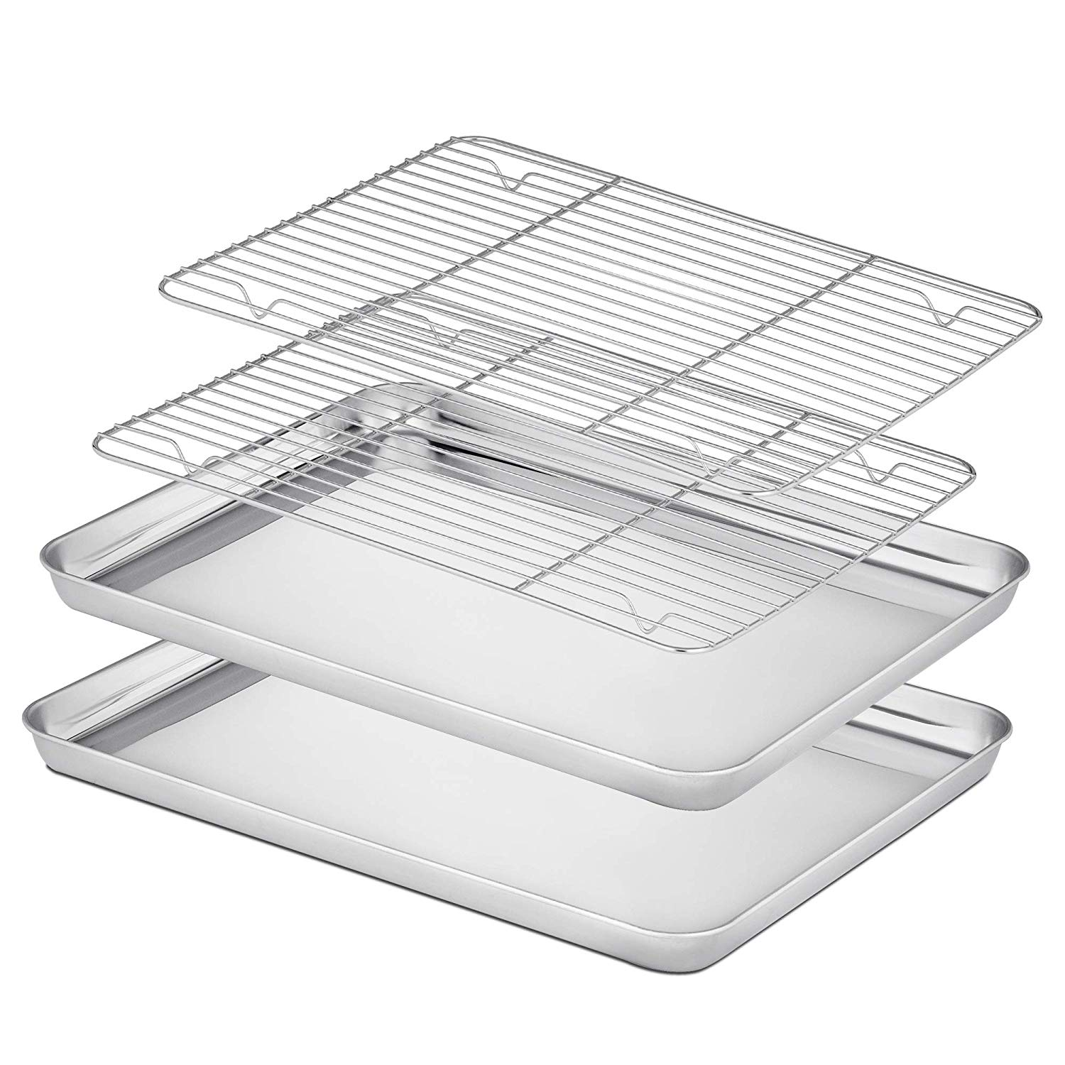 Velaze Baking Tray with Rack (2Pans 2Racks) Stainless Steel Non Toxic Baking Pan Cookie Sheet with Cooling Rack Dishwasher Safe