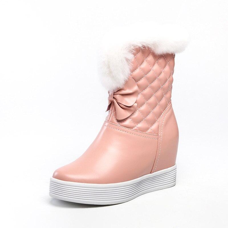 Smirnova 2020 date hiver bottes de neige femmes en cuir véritable chaussures zip chaud épais fourrure élégant cales plate forme bottines femme - 4