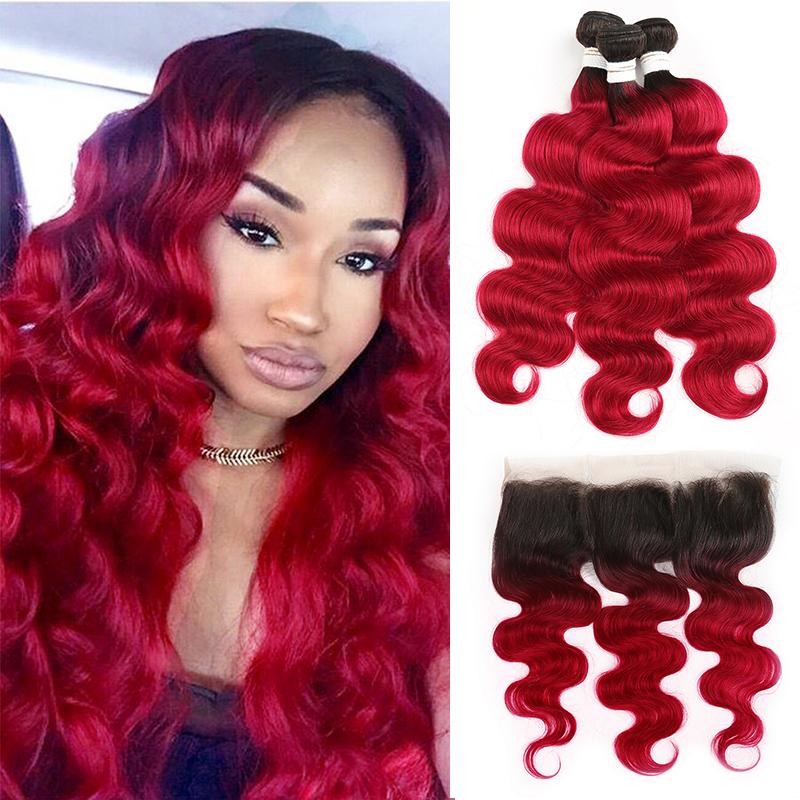 1B/Burgundy Brazilian Body Wave Human Hair Bundles With Frontal 13x4 SOKU 3PCS Ombre Red Hair Bundles With Closure Non-Remy Hair