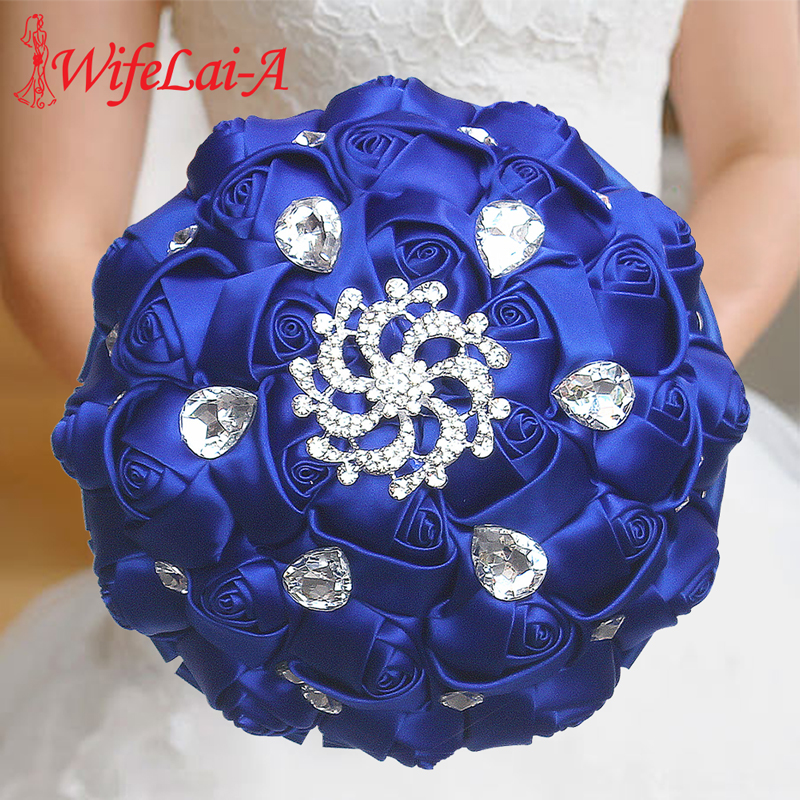 WifeLai-A Gorgeous Wedding Flowers Royal Blue Silk Ribbon Rose Bridal Bouquets Holding Flowers With Crystal Buque De Noiva W291