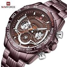 NAVIFORCE Mens Watches Top Brand Luxury Military Sports Quartz Wristwatch Waterproof Steel Band Analog Clock Man Reloj de hombre