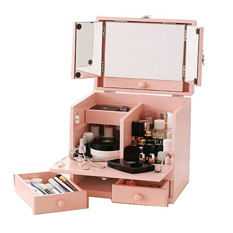 Mini Window Dresser Small Princess Dressing Table Japanese Flip Dress Cosmetic Case Portable Organizer Makeup More Storage Pink