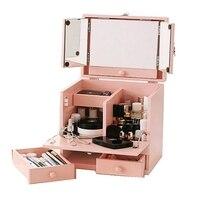 Mini Window Dresser Small Princess Dressing Table Japanese Flip Dress Cosmetic Case Portable Organizer Makeup More Storage Pink