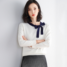 JoursNeige Knitted Pullovers Women 2020 New Autumn Bow O-Neck Patchwork Long-Sleeved Jumper Knitwear Soft Women's Sweater Top