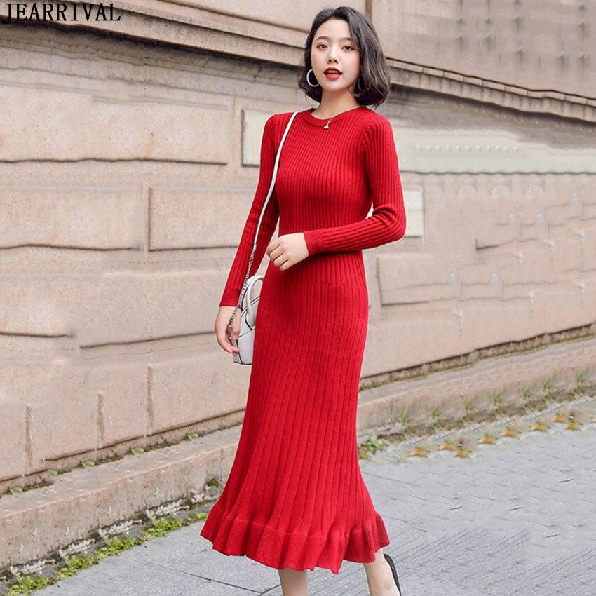Осенне зимнее вязаное длинное платье женское с длинным рукавом и круглым вырезом, с оборками, Теплое повседневное Черное Красное платье свитер De Festa 2019