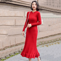 Autumn Winter Knitted Long Dress Women Long Sleeve O Neck Ruffles Warm Casual Black Red Sweater Dress Vestidos De Festa 2019