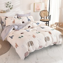 New twill print Nordic fashion cotton home textile bedding set of four bedding sets  bed sheet  comforter set cactus print bedding set