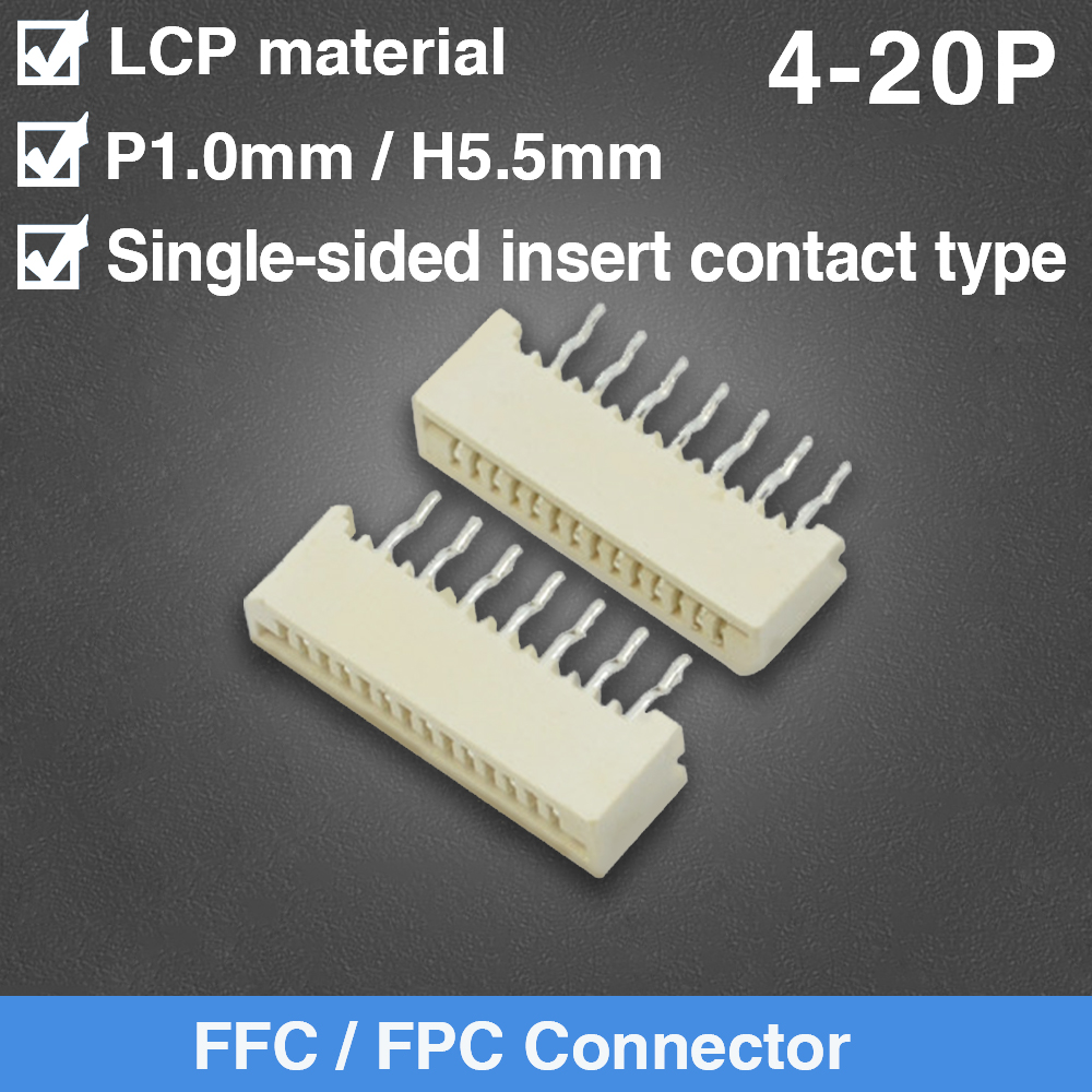 4/5/6/7/8/9/10/11/12/13/14/15/16/17/18/19/20P <font><b>1mm</b></font> Pitch Single Side Insert Contact Socket FPC FFC Flat <font><b>Cable</b></font> Connector image