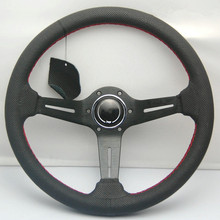 Car styled leather steering wheel / 14 inch general steering wheel / car modified DIY volante(China)