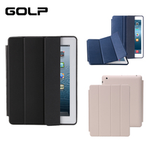 цена на GOLP PU Leather Smart Case For iPad 2/3/4 Auto Sleep Full Protective Case PU Flip Stand Smart Cover Case for ipad 4 3 2