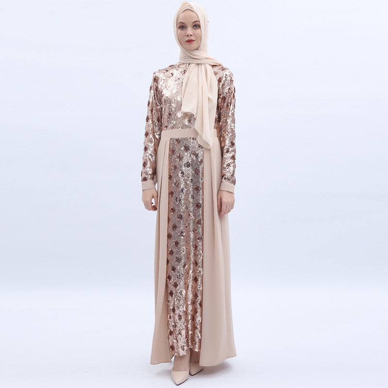 Muslim Women Caftan Elbise Robe Musulmane Longue Sequin Abaya Dubai Arabic Hijab Muslim Dress Pakistani Turkish Dress Kaftan