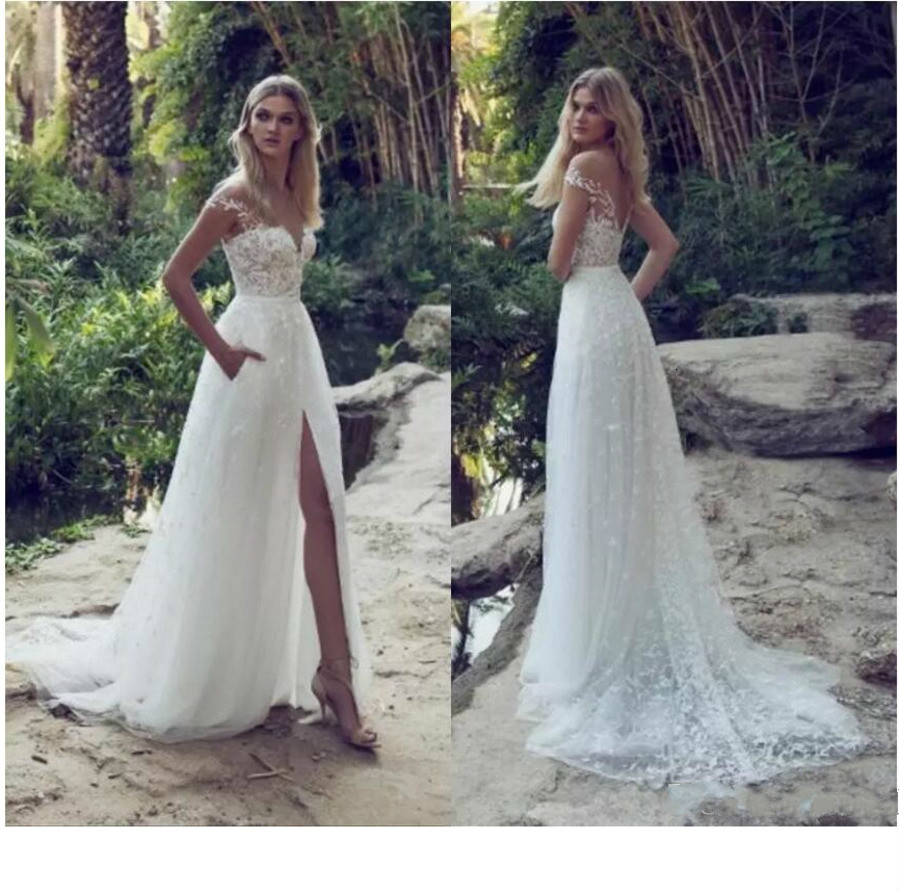 Latest Wedding Dresses Illusion Off Shoulder Sweep Train Backless Garden Beach Bridal Gowns Lace Applique A Line