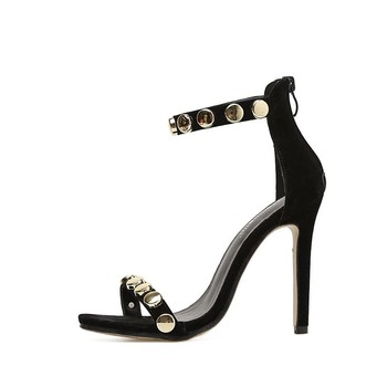Designer Woman Sandals Black Peep Toe Block High Heels Pumps Buckle Strap Metal Gold circle Suede Stilettos sandalias mujer Uncategorized Fashion & Designs Ladies Shoes Women's Fashion
