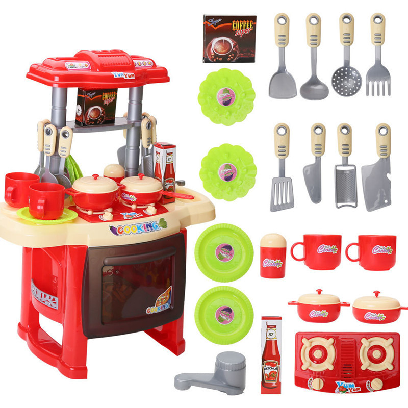 2019 New Xmas Gifts Pretend Play Juguetes Cocina Pink Red Music Light Tableware Table Set Kitchen Toys For Girls Children