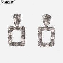 Bestessy ZA Fashion Statement Earrings Ins Big Geometric for Women Hanging Dangle Drop Earring Modern Jewelry