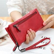 New Double Zipper PU Women's Wallet Women Long Large Capacity Clutch Fashion Wristlet Coin Purse Phone Bag More Color