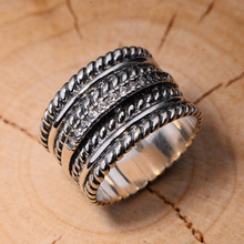 925 sterling silver retro Thai wide twist pattern male sterling silver ring set with zircon