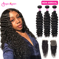Deep Wave Bundles With Closure wet and wavy bundles with clsoure brazilian remy human hair bundles with closure 18 20 22 24 26