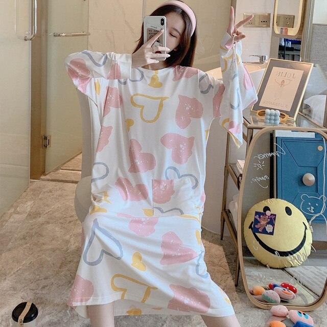 Caiyier robe de nuit pour femmes, manches longues, col rond, chemise de nuit, ample, avec sac de réception, hiver, 2020