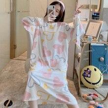 Caiyier zima 2020 kobiet koszula nocna z długim rękawem O Neck koronkowa koszula nocna luźna Casual Sleepshirt dziewczyna z torebka koszula nocna domowa