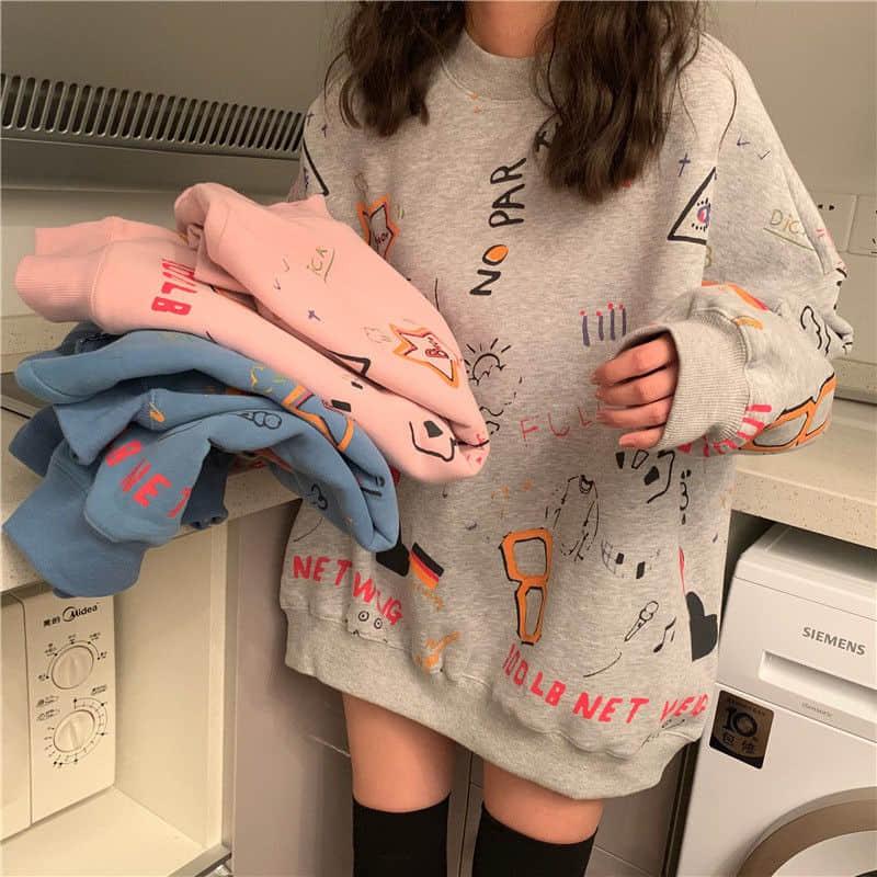 Print Oversize Autumn New Korean Fashion Women's Clothing Harajuku Style Ulzzang Loose Long Sleeve Hoodies Sweatshirts