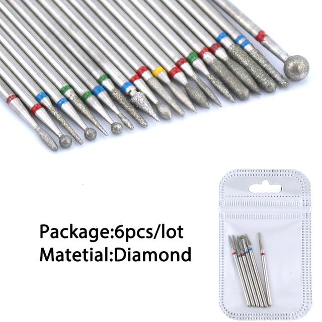 6/7 Diamond Nail Drill Bits Set Cutters Manicure Silicon Ceramic Stone Electric Milling Cutter for Pedicure Manicure Machine 3