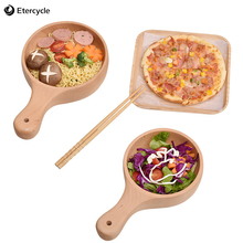 1Pcs Japanese Style Waved Wooden Rice Bowl Noodle Bowl Long Handle Soup Salad Fruit Bowl Home Kitchen Accessory Kitchen Art Tool round white black ceramic salad bowl gold japanese style noodle container for soup rice bowl ceramica set kitchen tool tableware