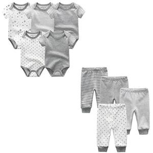 Image 5 - 9PCS/LOT Newborn Baby Clothes Sets 100% Cotton Rompers+ Pants Baby Jumpsuit Girl Clothing Pants Ropa Bebe Toddler Clothing Sets