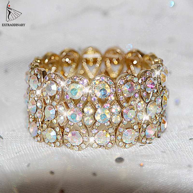 Belly Dance Accessories Gold Silver Women Rhinestone Stretching Bangle Upper Arm Cuff Party Bracelet Jewelry