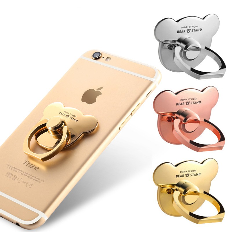 Hot Sale Universal Mobile Phone Holder Finger Ring Stand Support 360 Degree Metal Bear Phone Holder For IPhone X XS 8 7 6 6S Pad
