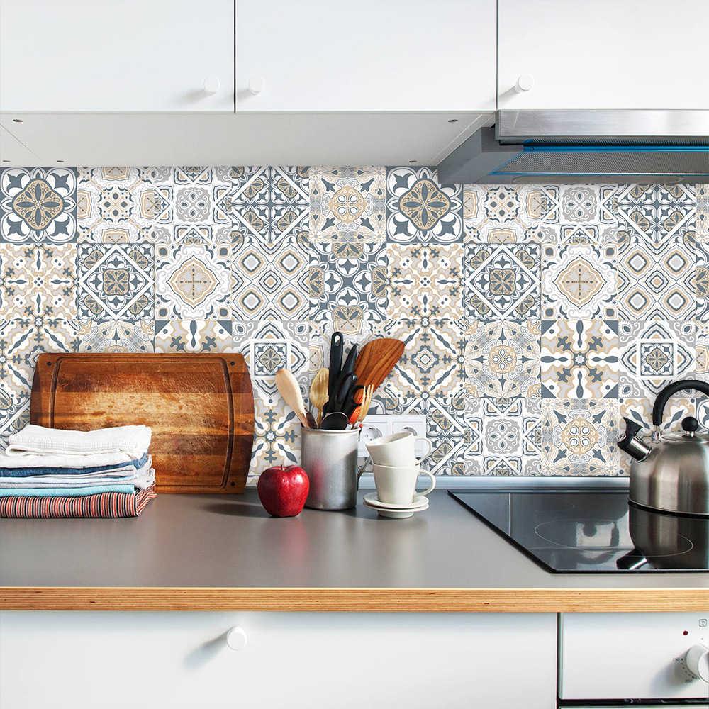 10/15/20/30Cm Retro Pola Keramik Ubin Strip Stiker Dinding Dapur Tangga Seni Mural Rumah dekorasi Tahan Air PVC Stiker Dinding